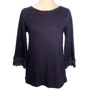 Loft NWOT Crochet Bell Sleeve Dark Blue Knit Top